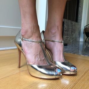 Gold heels by Ann Taylor